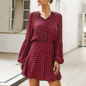 Elegant Hippie Check Dress