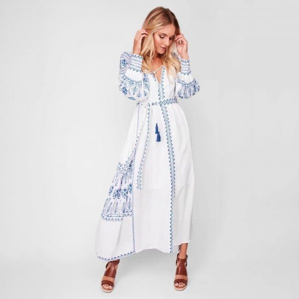 White long dress boho
