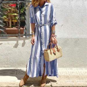 Blue bohemian long dress
