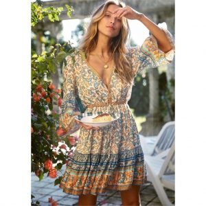 Bohemian dress with 3/4 sleeves