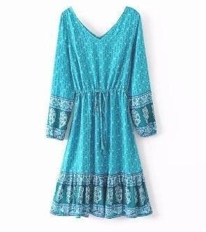 Turquoise bohemian dress