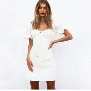 White bohemian hippie dress
