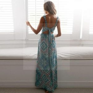 Bohemian chic blue maxi dress