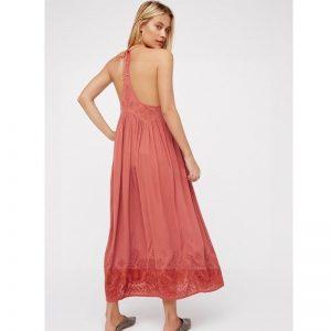 Pink bohemian chic maxi dress