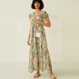 Green bohemian chic maxi dress