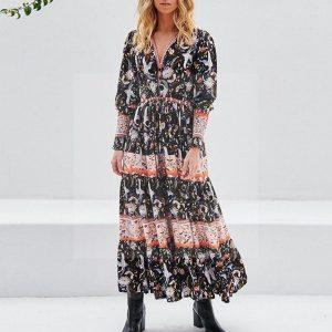 Bohemian long dress in cotton veil