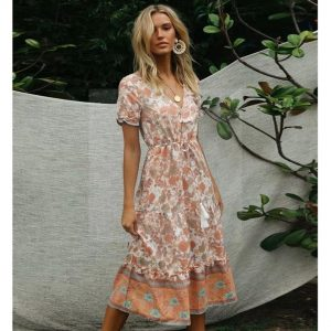 Bohemian cream maxi dress