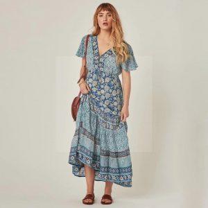 Bohemian long dress turquoise