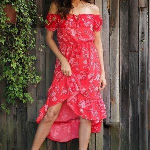 Bohemian red flowery maxi dress